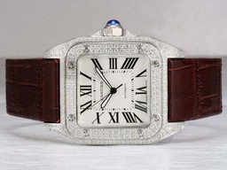 Falsi Raffreddare Cartier Santos 100 Movimento Diamond Bezel Orologi AAA [ O9L5 ]