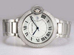 Falso Fancy Cartier Ballon Bleu de Cartier Diamond Bezel con quadrante bianco Orologi AAA [ U9K3 ]