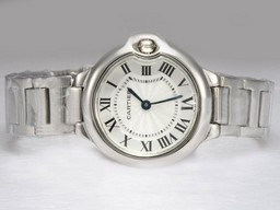 Falso Fancy Cartier Ballon Bleu de Cartier con quadrante bianco Lady Size AAA Orologi [ O5U5 ]