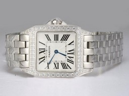Falso Fancy Cartier Montre Santos Demoiselle Diamond Bezel con quadrante bianco Orologi AAA [ H7F3 ]