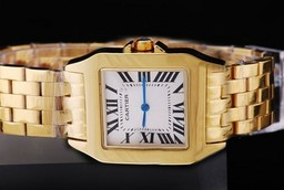 Falso Fancy Cartier Montre Santos Demoiselle Man Size Full Gold con quadrante bianco Orologi AAA [ I4A3 ]